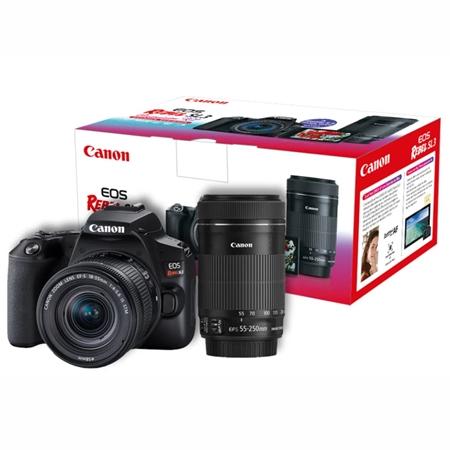 Câmera Digital Canon Eos Rebel Preto 24.1mp - Eos Rebel Sl3   18-55mm   55-250mm